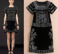 2014 newest short sleeve embroidery dress for woman fashion slim fit party dress winter dress