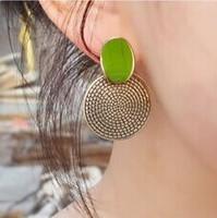 Min.order is $5(mix order) Free Shipping Korean Elegant retro vintage annual ring earrings Green gem earrings (OE0317)