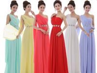 Free Shipping Hot sale crystal  One Shoulder Chiffon Long Bridesmaid dress Floor Length Formal Wedding Party Dress