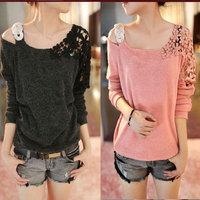 2014 new winny autumn plus size clothing long-sleeve T-shirt female strapless basic shirt women's top knitted shirt