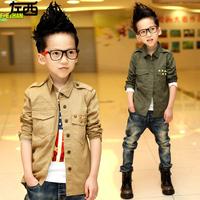 The new 2014Children's wear autumn clothes boy children shirt with long sleeves shirt