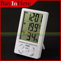 Buyinhere Large LCD Digital Temperature Humidity Meter Hygrometer thermometer Alarm Clock
