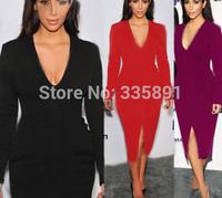 Sexy  long sleeve formal mid calf dresses bodycon pencil dress deep V neck Kim kardashian celeb evening party midi dresses