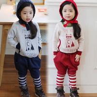 Free shipping 2014 autumn and winter cartoon graphic patterns girls sweatshirt casual clothing fleece set tz-1927