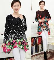 2014 New Fashiion Women Casual Printing Sweater Dress Autumn Winter Women's Oversized Dresses Plus Size XXL XXXL 4XL Tops Tees