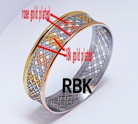 Plated Rose gold and 18k gold 316l stainless steel European retro pattern   bracelets  bangles BG1483001