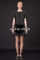 New 2014 autumn winter women vintage fashion black Rhinestone a-line mini dress above-knee short-sleeve velour brand dresses