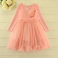 New 2014 Autumn sweet girls dress baby girls Boutique long sleeves yarn dress girls party dress 5pcs/lot