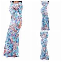 The latest series of print dress Fashion sexy long leopard-print dress
