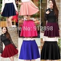 2014 Fashion Hot Sexy Women High Waist Plain Skater Flared Pleated Casual Cotton Mini Skirt #005 15411  saias femininas