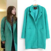 2014 NEW Winter Women's Trendy Lapel Collar Wide Waist Wool Blends Windbreaker Trench Mid- long Coat Mint Green / Dark green
