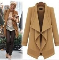 2014 New Women's Woolen Warm Coat. Temperament Irregular Large Lapel Cardigan Overcoat With Belt. Female Casual Jacket Free Size