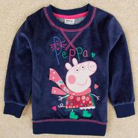 2014 new Nova brand kids Peppa pig Girl t shirt autumn/winter long sleeve t-shirt for girls Embroidery Cartoon kids clothes