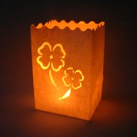 Free shipping 16*11*9cm 100pcs/lot HIGH QUALITY! 80g flame retardant paper clover luminary candle bag wedding, party,christmas