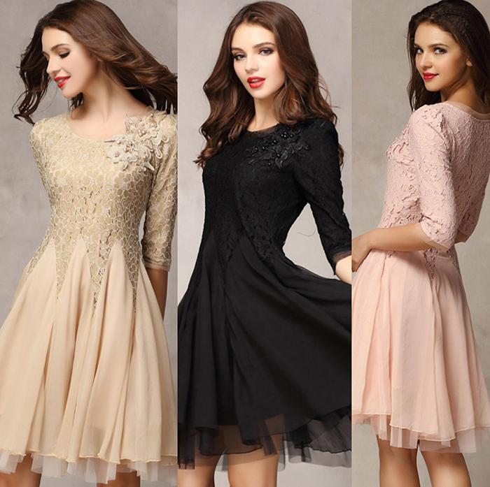 Women Fashion Elegant Party Black Khaki Pink Half Sleeve Lace Bead Embroidery Chiffon Midi Wedding Dress Prom Gown(China (Mainland))