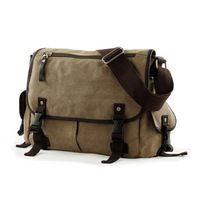 freeshipping wholesale Vintage Canvas Leather Satchel School travel swagger Bags Military Shoulder Messenger Bag