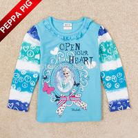 New Arrival Baby Girl Frozen Elsa Princess T-shirts Nova Brand 100% Cotton Long Sleeve Lovely Bow Striped Tops Drop Shipping