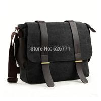 British Tide Men's Vintage Canvas Leather Satchel School bag travel swagger Bags Military Shoulder Bag Messenger Bag