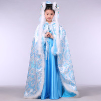Children's costume photography Ancient costume parent-child photo take The winter cloak cloak Small blue snow