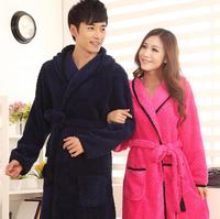 Flannel Couples night robe nightshirt winter sleeping gown women's bathrobe peignoir free shipping