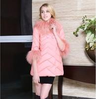 Rich Erjie 2014 winter new sweet candy color models in Europe and America Slim Down Girls long down jacket  NDZ138 Y9W