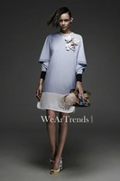 Free Shipping ! 2014 Early Autumn New Slim 3D White Flowers Spell Hollow  Relaxed Casual Dress