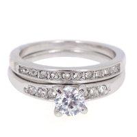 2Pcs/Set Classic Cubic Zircon Silver Rings Set Women Rings Crystal Wedding Engagement Ring Sets