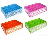 PromotionFree Shipping 2014 NEW Hot Sale Folding 12 Grid Storage Box For Bra,Underwear,Socks 31*23*11CM Non-Woven Fabric