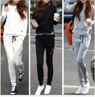 2014 New Fashion Women Sport Suits Casual Sweatshirt 2pcs Set Hoodie 3 Colors Thin Top + Pants Sportswear Costume Free Shipping