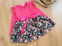 2014 3T-7T Fashion Little Girls Long Sleeve Floral Dress Warm Autumn Winter Dresses w Ribbon Bowknot