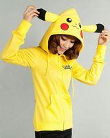 Hot Sale Yellow Pikachu Hoodies Cosplay Costume Animal hoodie with Ears Couple Sweatshirt Cotton Yellow Coat Unisex,Size S-XXXL