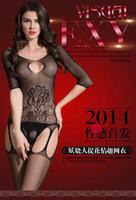 Sexy Cuff Jacquard Underwear Women Transparent Hollow Silk Stockings Fishnet Tights Open Crotch