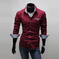 Free shipping 2014 new good quality slim casual shirt men's shirt lining cell patch men's Shirt MT0240
