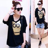 Plus size clothing autumn mm 2014 women's long-sleeve T-shirt female owl 200 loose