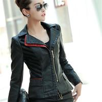 Autumn jacket 2014 fashion coats women patchwork motorcycle leather jacket women plus size short work wear coat slim girls