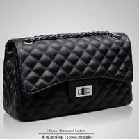Special Offer!Women Handbag PU Leather bags women vintage classic plaid chain messenger bag channelled style shoulder bag 2color