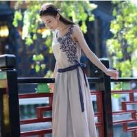 Small fresh 2014 summer female one-piece dress vintage embroidery fluid sleeveless dresses medium-long full dress tank dress