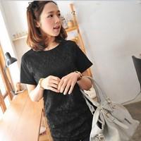 2014 summer mm lace basic shirt plus size plus size clothing 200 short-sleeve T-shirt female