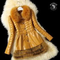 Maide for ar 2014 leather down coat female genuine leather clothing fox fur sheepskin slim fur coat