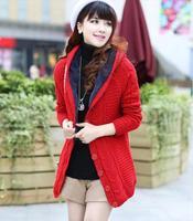 Women Thickening Hooded  Sweater Cardigan -- Warm Cardigan-- Fur Inside