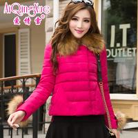 2014 large fur collar slim short design wadded jacket female short cotton-padded jacket outerwear