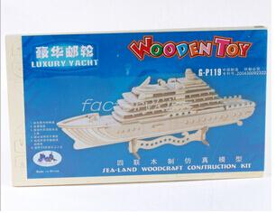 Free Shipping New 3D Luxury Yacht Woodcraft Construction Kit Wood Model [4-111-51T](China (Mainland))