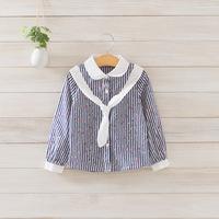 2014 New girls floral blouses children cotton striped shirts long sleeve necktie 3 colors 5 pcs/lot wholesale 1761