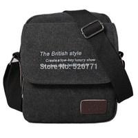 Men's Vintage Canvas Leather Satchel School bag travel swagger bags Single shoulder Military   Shoulder Bags Messenger Bag