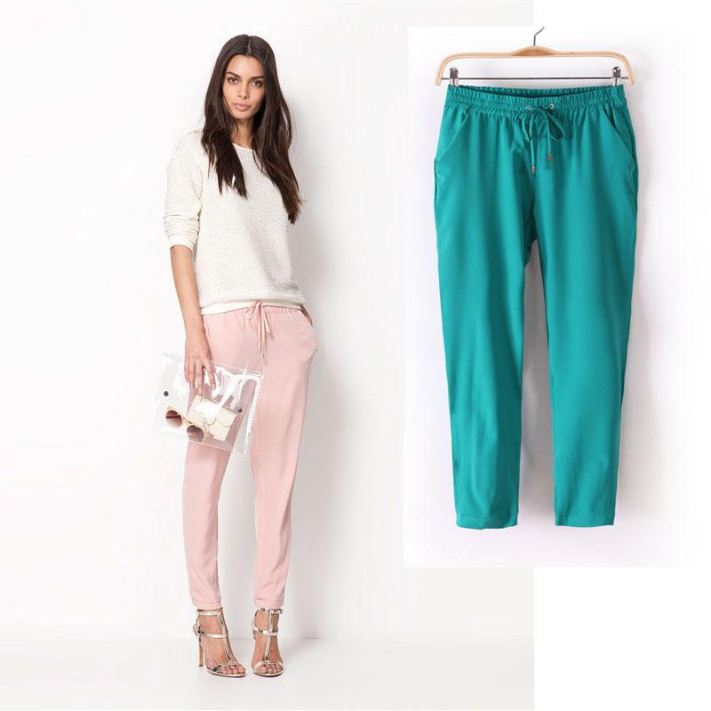 verão 2013 novo estilo europeu selvagem emagrece cor simples cintura elástica calças retas calça casual feminino maré(China (Mainland))