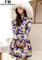 Thickening Fur Down & Parkas New 2014 Printed Coat Women Duck Down Winter Jacket Women Parkas Outerwear Plus Size 6XL AW14J008