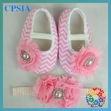 New Sales Posh Chevron Baby Crib shoes with Headband set Lovely Infant shoes with Flower headband set baby shoe sizes set(China (Mainland))