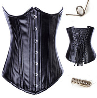 Free Shipping Women Faux Leather Zipper Front Brocade Lace Up Back Steel Boned Underbust Corset #A2823
