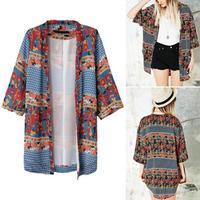 New Women Retro Bohemia Ethnic Floral Geometric Printed Kimono Cardigan Blouse Shirt Coat Tops