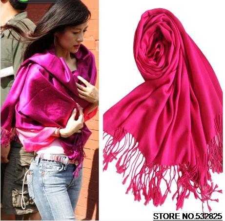 Brand Ladies Scarves Mercerized Cotton Tassels Monochrome Pashmina Wraps Winter Long Scarf Hijab Styles Bufandas 200 * 70cm(China (Mainland))